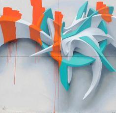 Stunning three dimensional graffiti art by graffitist Peeta - Big/Colourful/Public - Chalk Art Graffiti Writing, Graffiti Tagging, Graffiti Artwork, Graffiti Lettering, Street Art Graffiti, Graffiti Designs, Graffiti Styles, Art Anime, Italian Artist