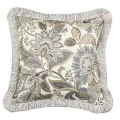 Linen-blend pillow with flowing floral motif and fringed trim.  Product: PillowConstruction Material: 55% Linen and 45% rayon coverColor: Multi Features:  Insert includedZipper closure Fringe Dimensions: 17 x 17Cleaning and Care: Spot clean