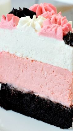 Neapolitan Millionaire Cake ~ a fun mix of flavors and textures! It's got chocolate cake on the bottom, strawberry cheesecake in the middle and vanilla bean mousse on top... A beautiful party in your mouth!