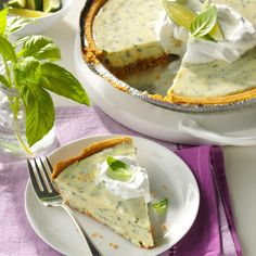 Lime Basil Pie Recipe -This sweet tooth satisfying dessert has a unique taste, plus less calories and fat than the traditional key lime pie.—Samara Donald, Redmond, Washington.