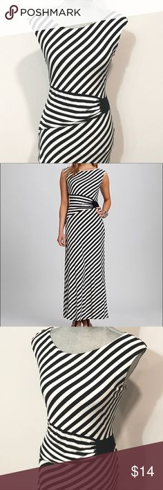 Roz & Ali black and white stripes maxi dress This feminine long dress was wore only twice and is in perfect condition! No tears stains or damages. Very soft fabric - the mid-section detail is very flattering and elegant. I only got nice complements when wore this dress!   Bought it at Dressbarn  Size 12 fits medium to large Stretchy fabric   Make me an offer and shop bulk to save! Comes from a very clean and smoke free home. Roz & Ali Dresses Maxi
