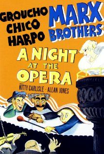 Directed by Sam Wood, Edmund Goulding. With Groucho Marx, Chico Marx, Harpo Marx, Kitty Carlisle. A sly business manager and two wacky friends of two opera singers help them achieve success while humiliating their stuffy and snobbish enemies. Harpo Marx, Groucho Marx, Films Cinema, Cinema Posters, Comedy Films, Art Posters, Vintage Posters, Classic Movie Posters, Classic Movies