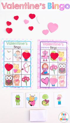 This fun free printable Valentine's Day game template for kids is the perfect way to work on vocabulary for toddlers and preschoolers. These Valentine's bingo cards game would make Cupid proud! via @funwithmama