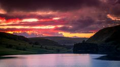 Dramatic Sunset over Craig Goch Dam, Elan Valley, Rhayader, Wales