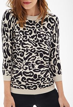 Leopard Print Crew Neck Sweater | FOREVER21 - 2055879405