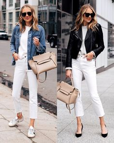 Women Jeans Outfit Brown Trousers Women Denim Style Plus Size Dresses Online Cheap Mens Clothes Online Uk Casual Formal Wear Jeans And Heels Outfit – gardeniarlily Outfit Jeans, White Pants Outfit, Leather Jacket Outfits, White Jeans Outfit Summer, Shirt Outfit, Mode Outfits, Jean Outfits, Stylish Outfits, Denim Fashion