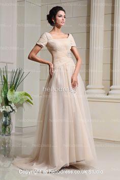 Short Sleeves Square Neckline Tulle Ivory Wedding Dress - HelloBridal.co.uk