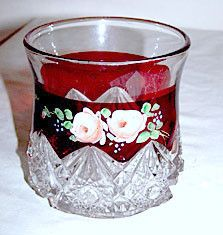EAPG - Jefferson Glass - Diamond w/ Peg - Ruby Flashed & Decorated Spooner 4 1/8""