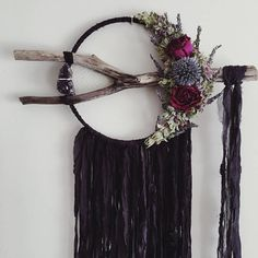 Large Boho Dreamcatcher Dried Flowers Black Wallhanging