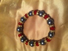 Red and silver with rhinestone spacers