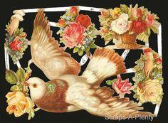 Victorian Style Scrap Die Cut - LARGE Beautiful Dove / Bird & Flowers  EF7066