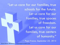 """Families are not a problem, they are first and foremost an opportunity."" Read more at: http://www.zenit.org/en/articles/pope-families-are-the-answer-for-the-future"
