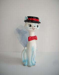 Vintage Cat Figurine Planter Sachet Holder