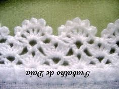 Crochet Patterns Lace Crochet lace edging, 2 rows staggered shells & V& flowers . Crochet Edging Patterns, Crochet Lace Edging, Crochet Borders, Crochet Doilies, Crochet Stitches, Crochet Edgings, Crochet Kids Hats, Crochet Crafts, Easy Crochet