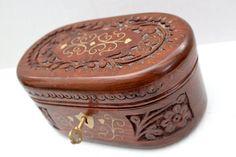 vintage locking carved wood box // goldtone metal by RedTuTuRetro, $30.00