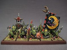 regiment base warhammer night goblin | These are the old night goblins by Kev Adams (I believe). I painted ...