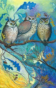 Painting of Owls in Tree | Owls of the Oak Nut Tree - Art deco style high quality archival giclee ...