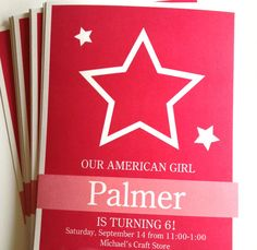 American Girl Saige Birthday Invitation Made by a Princess Parties