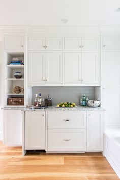 Classic White Kitchen with New Design Ideas - Home Bunch Interior Design Ideas Kitchen Butlers Pantry, White Kitchen Cabinets, Pantry Design, Kitchen Design, Kitchen Ideas, Gray Tile Backsplash, Classic White Kitchen, Pantry Makeover, Kitchen Wall Colors
