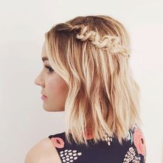 Put a fresh twist on your classic braid with this intricate short half-up macrame braid crown hairstyle.