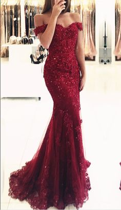 Mermaid Off-the-shoulder Red Lace Glamorous Appliques Evening Dress_Wholesale Wedding Dresses, Lace Prom Dresses, Long Formal Dresses, Affordable Prom Dresses - High Quality Wedding Dresses - Yesbabyonline.com