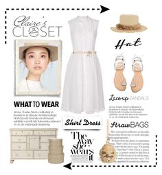 """""""Claire's Closet"""" by conch-lady ❤ liked on Polyvore featuring Topshop, Home Decorators Collection, Darice, Stuart Weitzman, Kate Spade, Gigi Burris Millinery, Diane Von Furstenberg and shirtdress"""