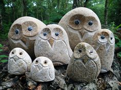 Stone Owls For Garden - Carved Stone Owls Dremel Crafts Rock Crafts Crafts Fantastic Hand Carved Stone Owls 3 Perfect For The Garden Cute Garden Owls Natural Marble Lively St. Ideas Dremel, Dremel Tool, Garden Statues For Sale, Owl Rocks, Dremel Carving, Owl Crafts, Stone Crafts, Stone Carving, Pebble Art