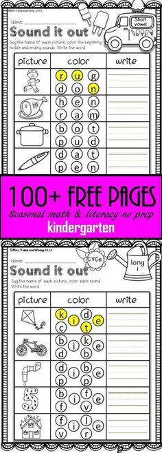 Fall, Winter, Spring & Summer free math & literacy printables (kindergarten) 100 free printables for kindergarten learning. Tons of awesome literacy and math worksheets to engage your students to learn about spring, summer , fall and winter with fun. Math Literacy, Homeschool Kindergarten, Homeschooling, Learn To Read Kindergarten, Free Printable Kindergarten Worksheets, Math Worksheets For Kindergarten, Summer Worksheets, Kindergarten Language Arts, Homeschool Curriculum