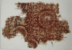 Cloth Fragment Cotton, block printed and resist dyed 13th - 14th C India Met Mus of Art