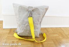 RatzFatz / Rucksack / Backpack / Taschen / Handmade / Sommer / Gelb / Zitronengelb / Stone Gray / SnapPap Plus / SnapPap / Snaply / Kater Paule / Nähgedöns