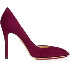 Charlotte Olympia The Lady Is A Vamp Pump In Bordeaux ($665) ❤ liked on Polyvore featuring shoes, pumps, pull on shoes, bordeaux shoes, leather pumps, leather sole shoes and slip on shoes
