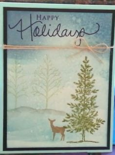 Love this deer and trees. Could use for any occasion.  Source: Christmas card share using PTI and Gina K stamps. By CraftingKelli on YouTube.