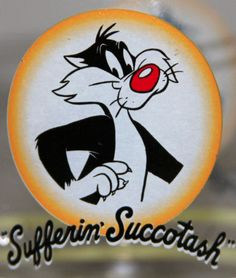Looney Tunes Sylvester the Cat Drinking Glass Sufferin' Succotash Warner Bros