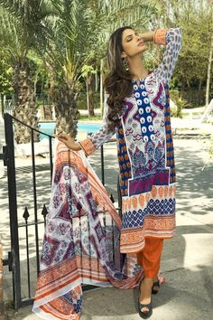 Show details for Sunset Orange and Purple Lawn Kameez with Trousers