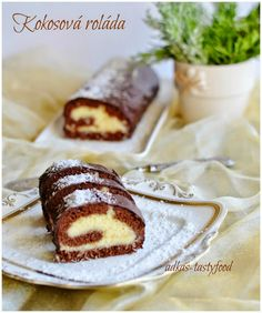 Vyborna kokosova rolada. Ta plnka je famozna. Vsetci milovnici kokosovych zalezitosti by ju mali vyskusat. Naozaj uz davno som ... Chocolate Candy Cake, Cake Roll Recipes, Candy Cakes, Pastry Cake, Healthy Cookies, Rolls Recipe, Delicious Desserts, Biscuits, Cheesecake
