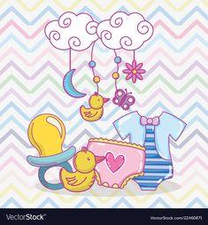 Baby shower cartoons vector image on VectorStock Baby Mehndi Design, Baby Album, Scrapbook Designs, Arte Pop, Floral Border, Painting For Kids, Spring Crafts, Cute Cartoon, Cute Drawings
