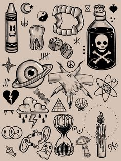 Kritzelei Tattoo, Grunge Tattoo, Doodle Tattoo, Tattoo Linework, Stick Tattoo, Poke Tattoo, Doodle Art, Mini Drawings, Art Drawings Sketches