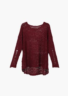burgundy ripped sweater