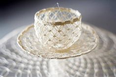 Paper World - Ini Creation / Nithikul Nimkulrat Macrame Art, Micro Macrame, Cable Tie, Cup Art, White Cups, New Thought, Textile Art, Coffee Cups, Coffee Coffee