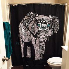 Tribal Black Elephant Shower Curtain For Your Home Decor