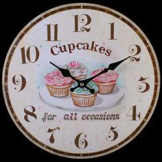 Shabby Chic Wooden Cupcakes Clock