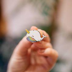 rainbow whale pin