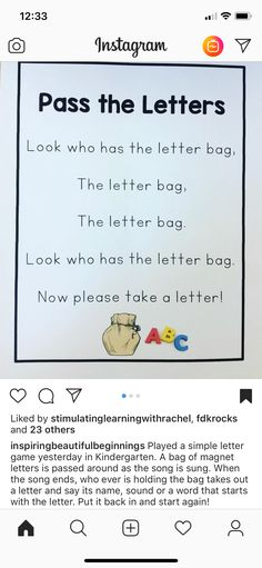Letter bag game for preschool education. Great for circle time, morning meetings and small group activities. Preschool Songs, Preschool Literacy, Preschool Letters, Preschool Education, Letter Activities, Learning Letters, Preschool Lessons, Preschool Good Morning Songs, Phonics For Preschool
