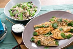 Dukkah-Crusted Catfish with Sugar Snap Pea & Couscous Salad. Visit https://www.blueapron.com/ to receive the ingredients.