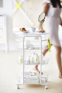 Ikea SPRUTT Trolley in weiss fürs Badezimmer oder als Küchenwagen mit neon Accessoires