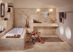 salle de bain pierre naturelle sol et murs en pierre de travertin et tablier de - Salle De Bain Pierre De Travertin
