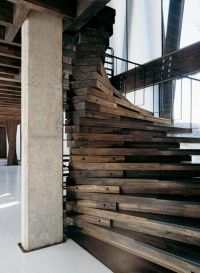 Awesome spiral staircase made from reclaimed wood