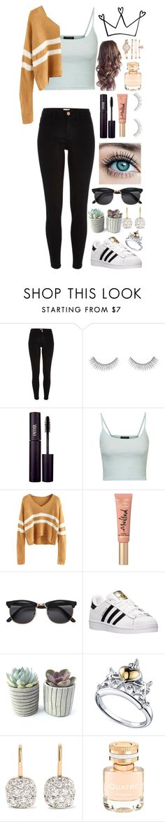 """""""Fall Sweaters!"""" by rhiannonpsayer ❤ liked on Polyvore featuring River Island, Forever 21, INIKA, Topshop, Too Faced Cosmetics, H&M, adidas, Disney, Pomellato and Boucheron"""