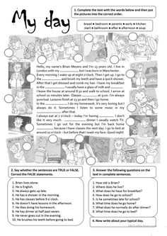 MY DAY - English ESL Worksheets for distance learning and physical classrooms English Grammar Exercises, Teaching English Grammar, English Grammar Worksheets, English Vocabulary, Teaching Spanish, English Activities, Teaching Activities, Present Simple Anglais, English Lessons