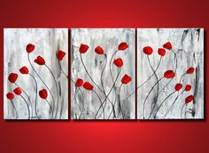 Red Flower Painting, Original Art heavy texture Tulips Original Painting on Canvas, Red floral painting, ART home decor, botanical tulips, RED abstract